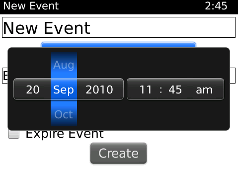 An example of the DateTimePicker as used in the Twinkle application is